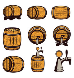 Set of hand drawn wood barrels isolated on white vector