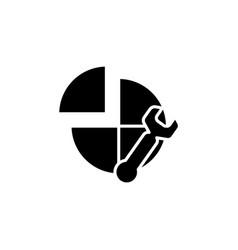 Settings icon black on white vector