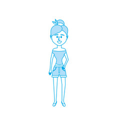 silhouette woman with hairstyle design and clothes vector image