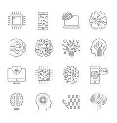 simple set artificial intelligence related line vector image