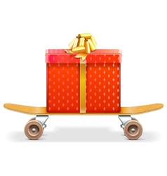 Skateboard with Gift vector