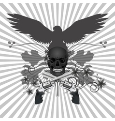 Skull with guns and flowers vector