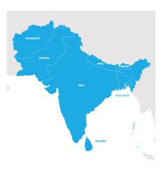 South asia region map of countries in southern vector