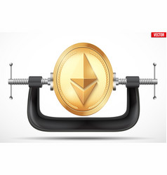 Symbol of ethereum being squeezed in a vice vector
