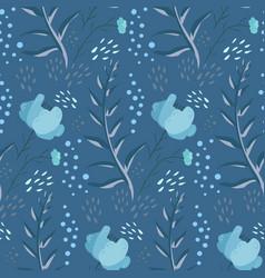 tender blue fantasy doodle floral pattern vector image