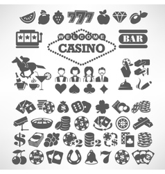 The biggest set of flat casino or gambling icons vector image