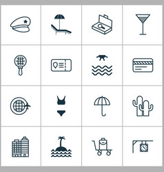 Travel icons set collection of trip access cop vector