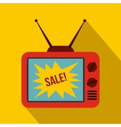 TV screen with Sale text icon flat style vector image