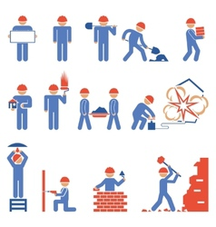 Various Building and Demolition Character Icons vector