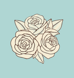 Vintage hand drawn roses patch design vector
