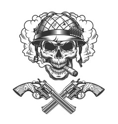 Vintage monochrome soldier skull smoking cigar vector