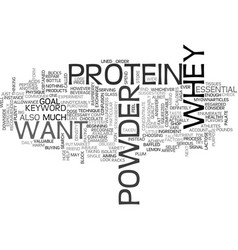 Whey protein powder text word cloud concept vector