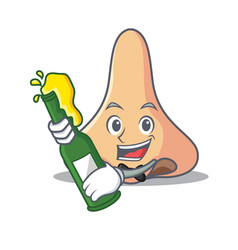 With beer nose mascot cartoon style vector
