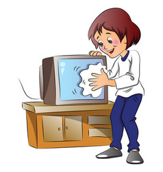 Woman wiping dust on television set vector