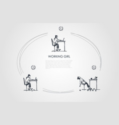 working girl - girl sitting with laptop vector image