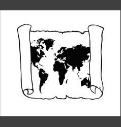 World map on old papyrus vector