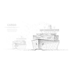 worldwide cargo ship two boats abstract vector image