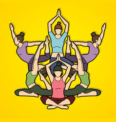 yoga class women training yoga graphic vector image