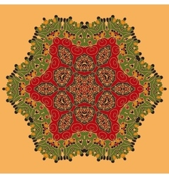 Yoga Green and Red Oriental Mandala Abstract vector image