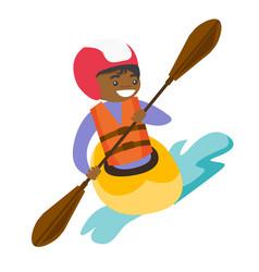 Young black woman riding a kayak vector