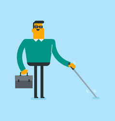 Young caucasian white blind man with a stick vector
