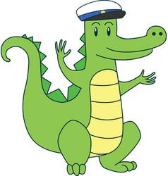 cartoon alligator in sailor cap flat vector image vector image