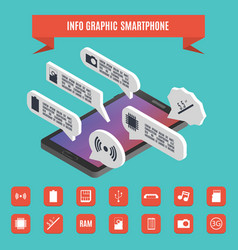 elements of infographics smartphone isometric vector image