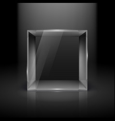 empty glass showcase in cube form with spot light vector image