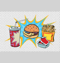 fast food set burger fries drink and sauce vector image vector image