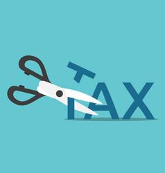 scissors cutting tax vector image