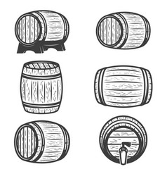 Set of beer barrels isolated on white background vector