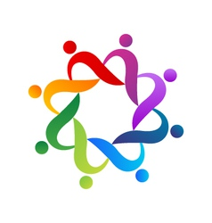 Teamwork helping people logo vector image vector image