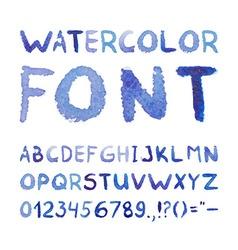 Watercolor Hand Drawn Blue Font vector image
