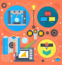 3d technology flat concept 3d printing and 3d vector image