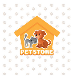 pet store background with happy pets vector image vector image