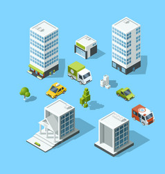 set of isometric cartoon-style buildings trees vector image vector image