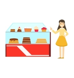 Woman Standing Next To Display Case With Cake vector image vector image
