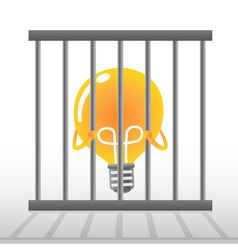 Yellow bulb in a cage vector