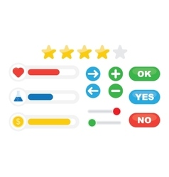 Game progress bar and resources icons vector image