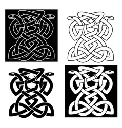 Intricate intertwined snakes emblem vector image vector image