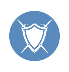 Shield and two crossed swords under it icon vector image