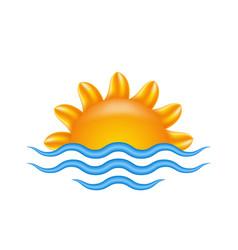 sun and sea for logo abstract creative concept vector image