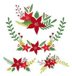 Christmas Flowers Floral Arrangements vector image vector image