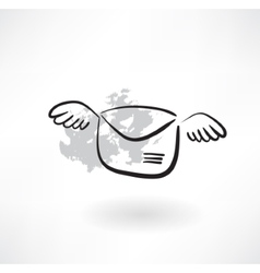 flying envelope grunge icon vector image vector image