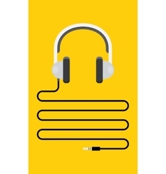 Headphones with cord and plug vector