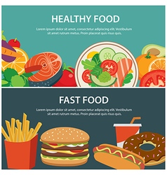 healthy food and fast food concept banner vector image vector image
