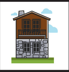 house made with stone and wood vector image