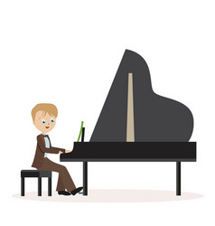 little boy in a classic suit playing piano flat vector image vector image