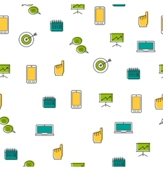Seamless pattern - seo thin line icons vector image vector image