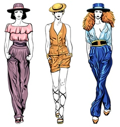 set fashion top models in trouser suits and vector image vector image